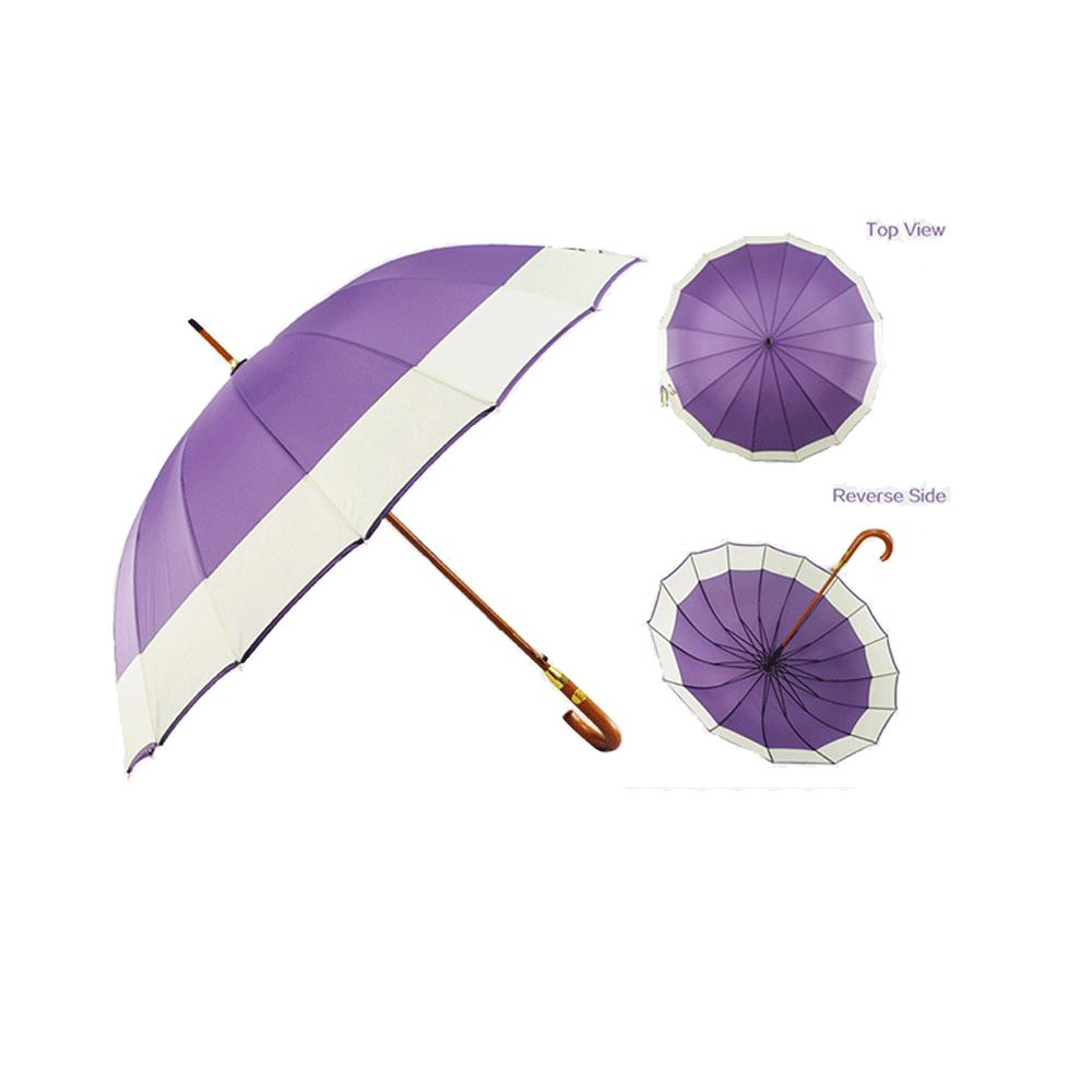 Windproof Rain Single Layer Two Color Wood Long Shaft Straight Umbrella