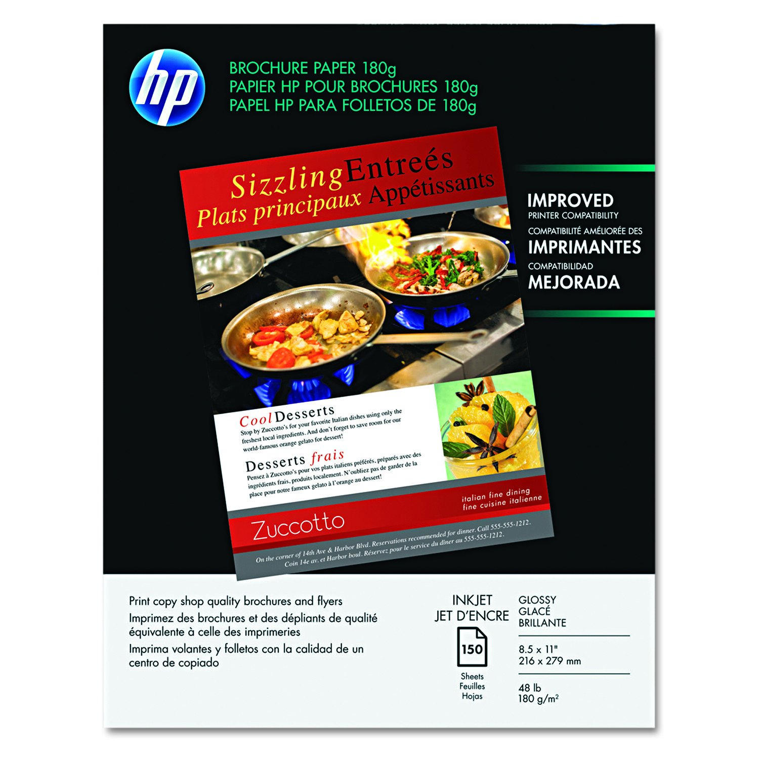 HP Brochure Paper, Glossy (150 Sheets, 8.5 x 11 Inches, 180 g) 92 Brightness Q1987A