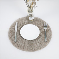 Round kitchen dinner table mats woven straw placemats tableware mat