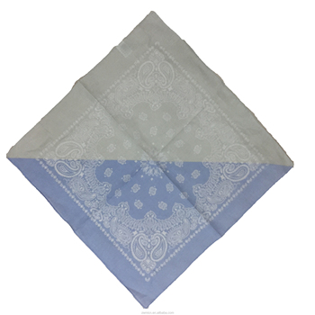 "22""*22"" 100% Cotton Paisley soft bandana for gray and sky bule colours"