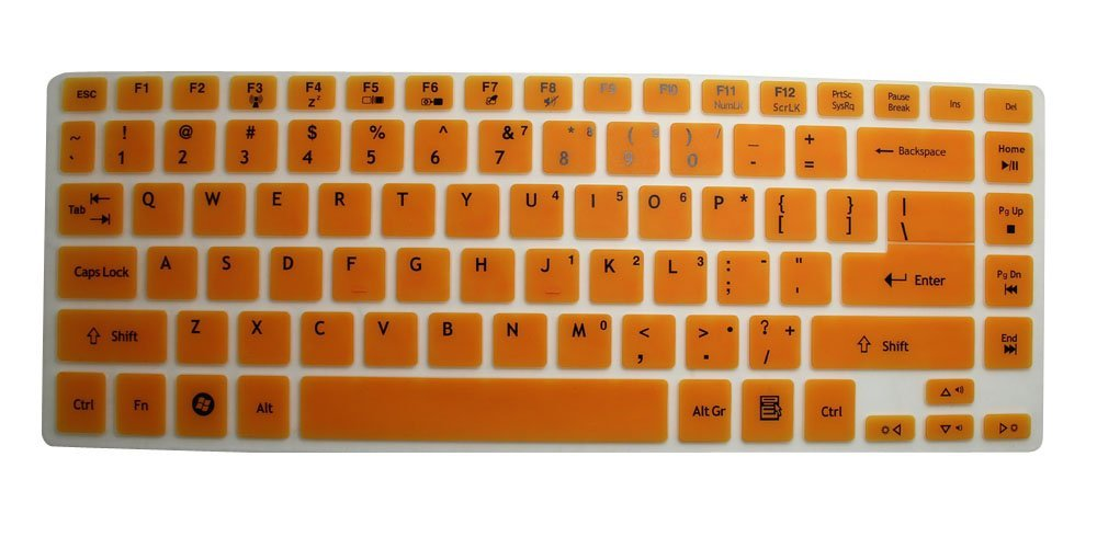 CaseBuy® Translucent Orange Soft Silicone Keyboard Protector Skin Cover for ACER Aspire E1-410G, E1-422G, E1-470P, E1-472, E1-472G, E1-472P, E14, E5-411, E5-471, E5-471G, ES1-511, M5-481T, M5-481PT, R7-571, R7-571G, R7-572, V3-471, V3-471G V3-472P, V5-431, V5-431P, V5-471, V5-471G, V5-471P 4830,