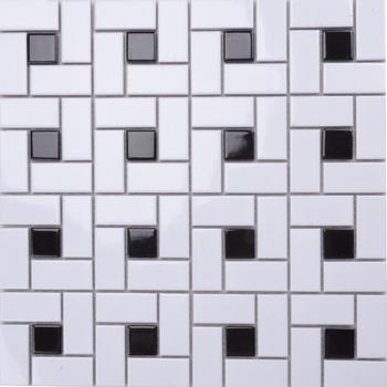 Md059t piso azulejos del ba o de mosaico patr n blanco y for Azulejo de piso de bano blanco y negro