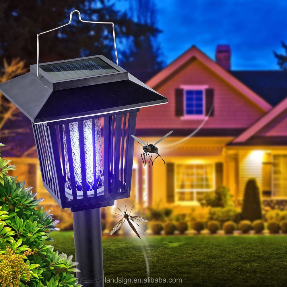 NEW IMPROVED Solar powered outdoor dual modes cordless bug zapper,mosquito killer light,electric insect killer
