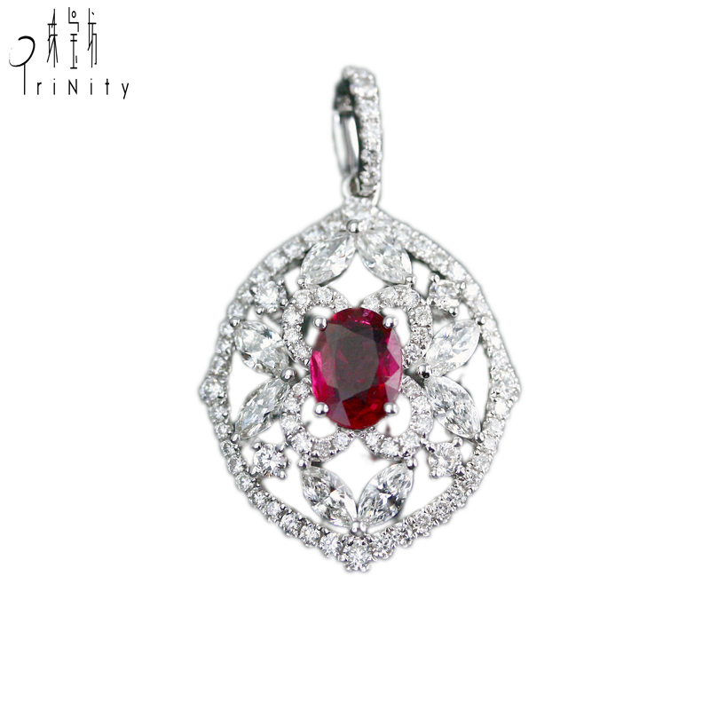 Real Natural Ruby Gemstone And Diamond Pendant Chain Necklace