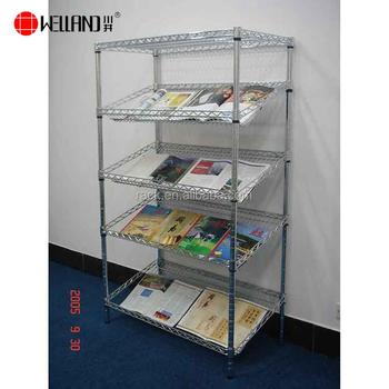 5 Tiers Metallic Slanted Book Display Shelf For Retail Children S Comic