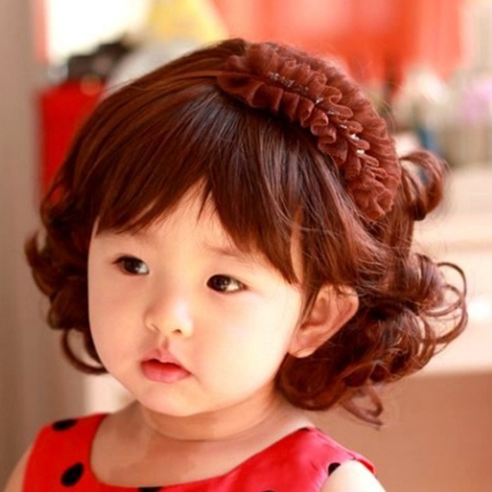 Fashion Style Baby Children Kids Girls Short Wavy Curly