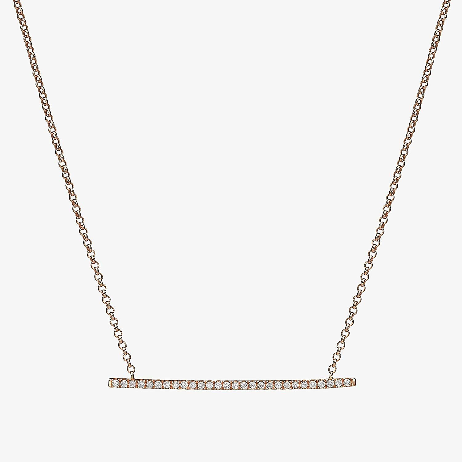 8074a88dee5706 Get Quotations · Diamond Bar Necklace, Diamond Layering Necklace, 14k Solid Rose  Gold Diamond Bar Necklace with