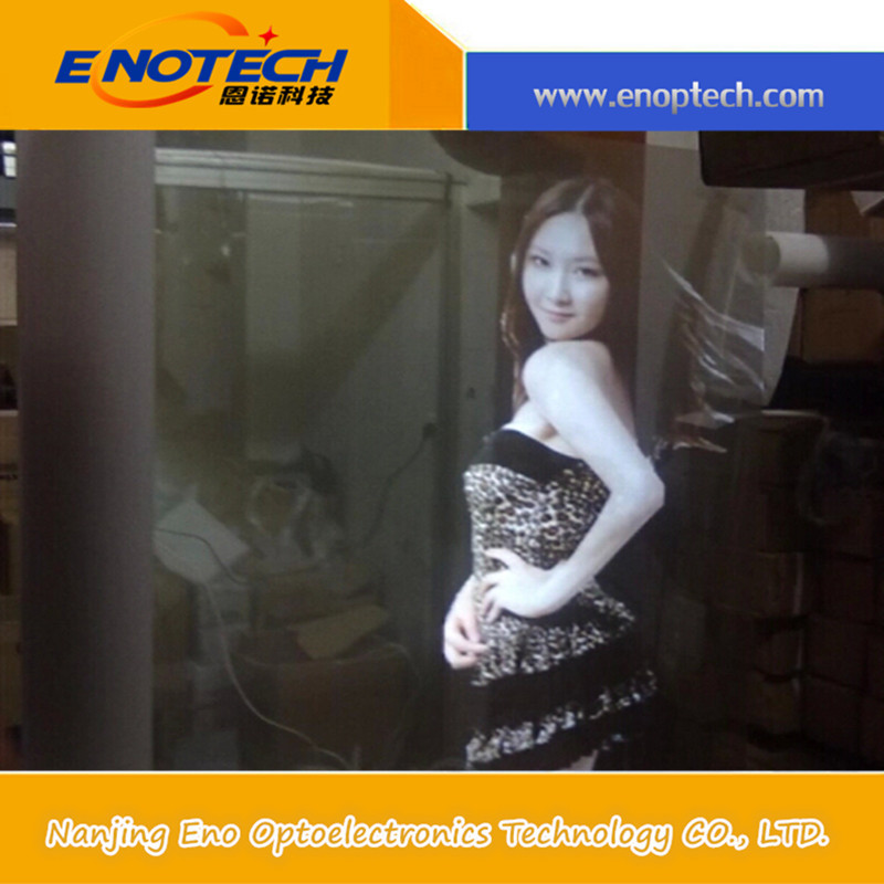 High quality transparent self adhesive rear projection film for shop advertising 3D holographic ads