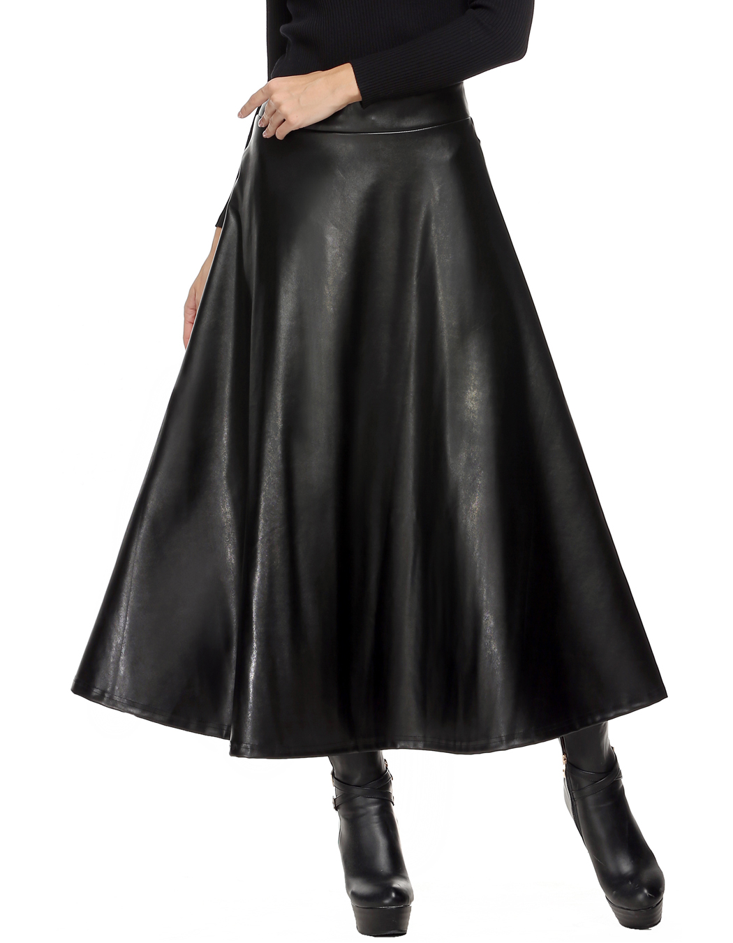889442e45 ... maxi skirt directly from China long fashion skirts Suppliers: Zeagoo  Autumn Winter Women Skirt Fashion PU Leather Solid Long Skirt High Waist  Pleated ...