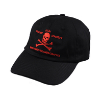 Promotional cotton twill flat embroidery dad, skull logo dad hat