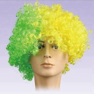 Promotional New Synthetic hair performance Wavy Round Clown wig hair Statement Fans Wig peluca peruca cosplay hair for Christmas