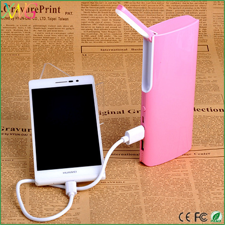 Custom OEM portable battery charger 10000mah dc5v/1a mobile phone power bank with LED table lamp light
