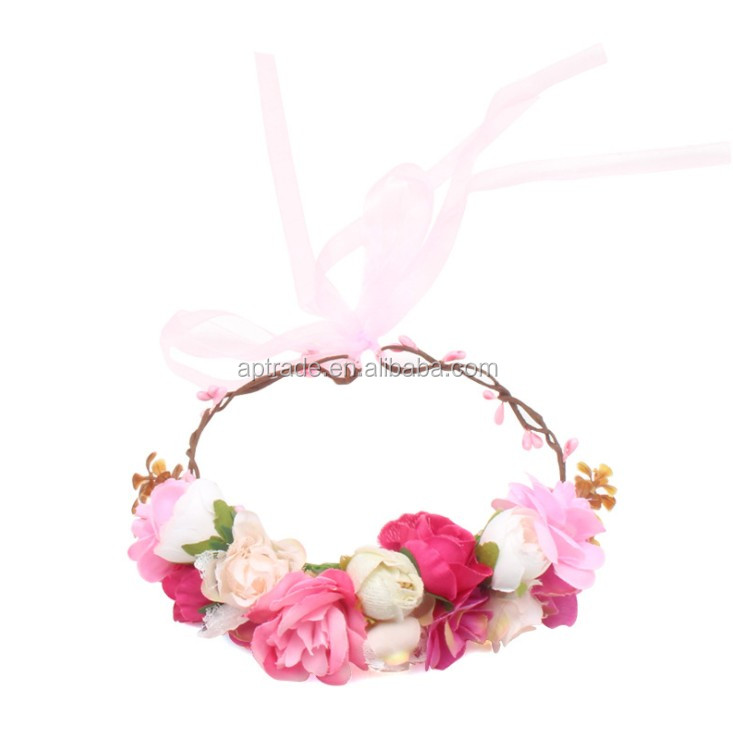 New European and American fashionable cloth garland headdress silk flower hairband beach headband children's holiday headdress