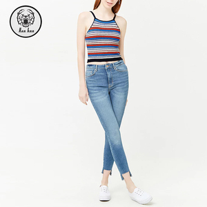 100% Cotton Summer Striped Cami Fashion Co;orful Vest For Women