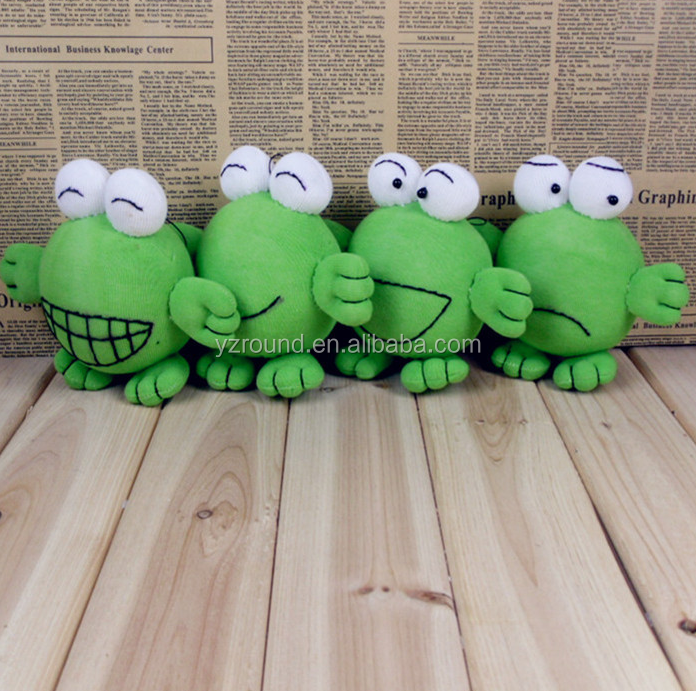DIY knitted sock cute plush stuffed frog green toy