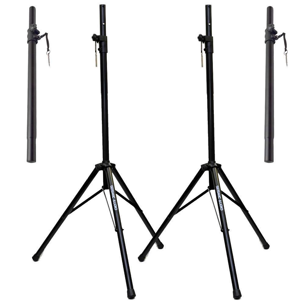 Seismic Audio - SA-SSLGSP-PKG1 - Pair of PA/DJ Steel Tripod Speaker Stands & Subwoofer Poles - Pro Audio Speaker Stand and Sub Pole Package