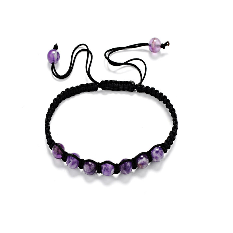 6mm 8mm 10mm AA Natural Amethyst Stone Bracelet Men Jewelry