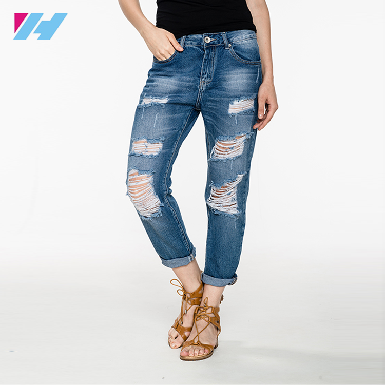 hot latest design women pants Street Style Fashion Pants Torn High Waist big size casual Jeans