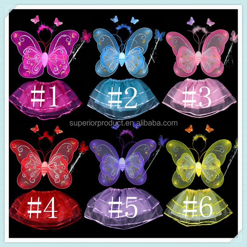 Baby Girl Fairy Angel Stage Costume Photo Butterfly Wing+Wand+Headband+Dress Set