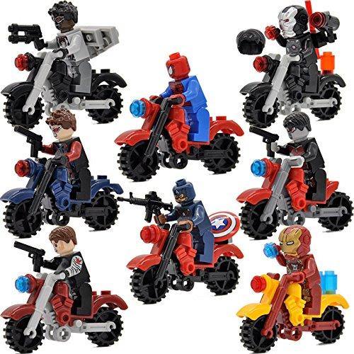 JSM 8pcs/set-Minifigures-Moto-Super-Heroes-Avengers-Iron-Man-Bricks-Building-Toy