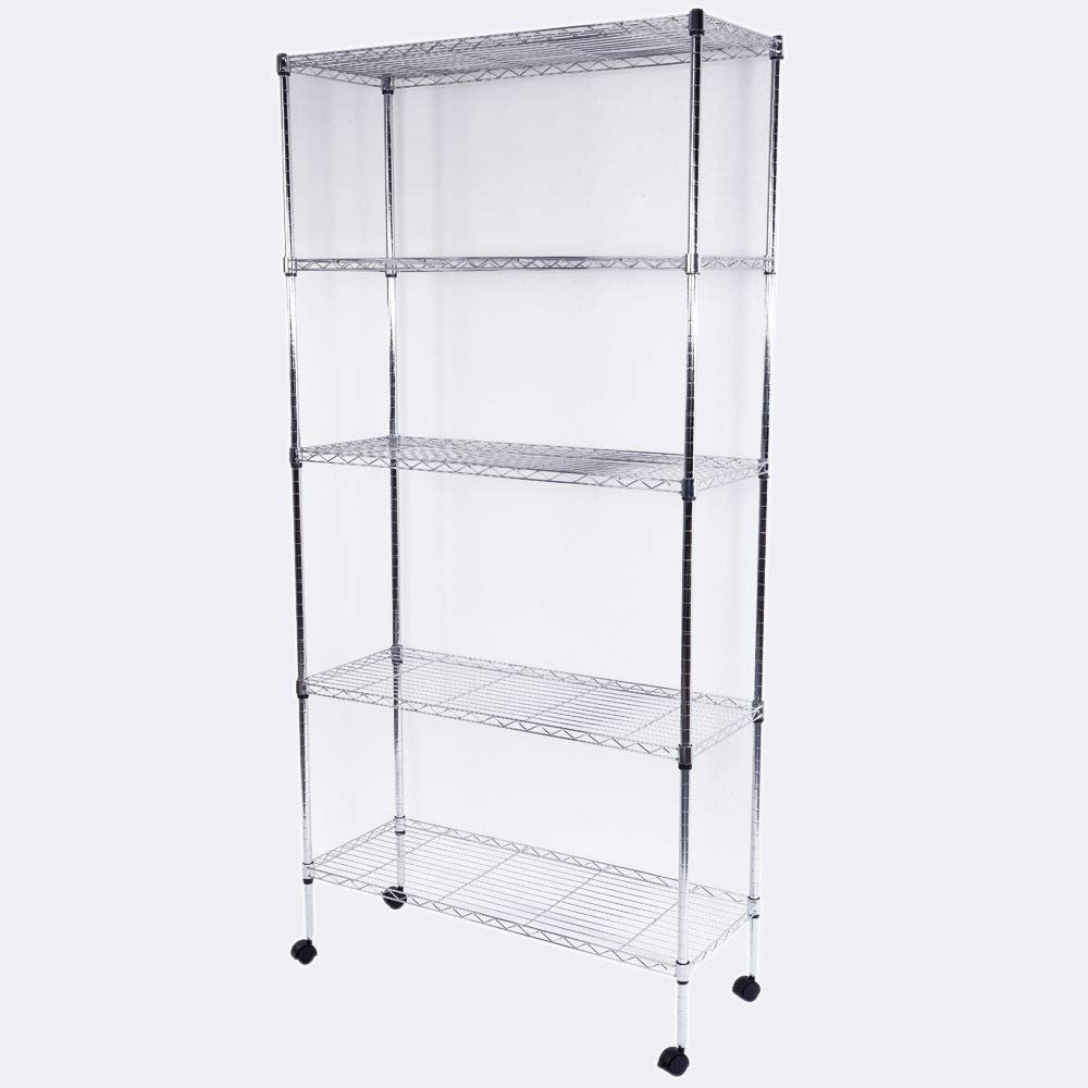 "GHP 5-Layer Rolling Chrome Plated Iron Shelf Rack Organizer with 1.5"" Nylon Wheels"