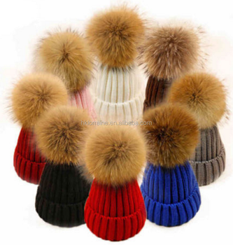5b3b8869fdf Women Real Fur Pom Pom Hat Female Winter Wool Autumn Knitted Beanies Fur  Ball Cap Ladies