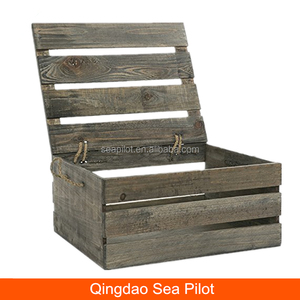Multi-purpose Gray Antique Wood Crate Storage Box with Swing Lid