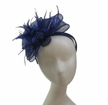 Blue Flower & Feather Sinamay Fascinators Wedding Party Hats With Headband