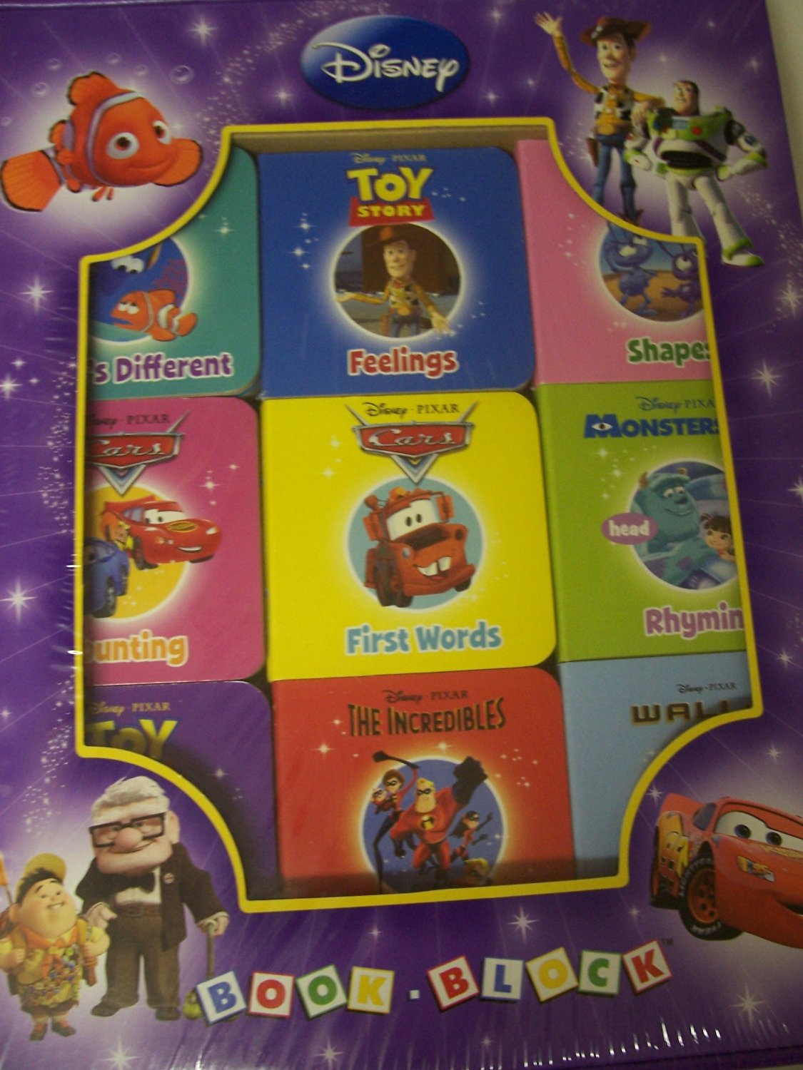 Disney Pixar Set of 9 Educational Board Books ~ Shapes, Rhyming, Counting and More!