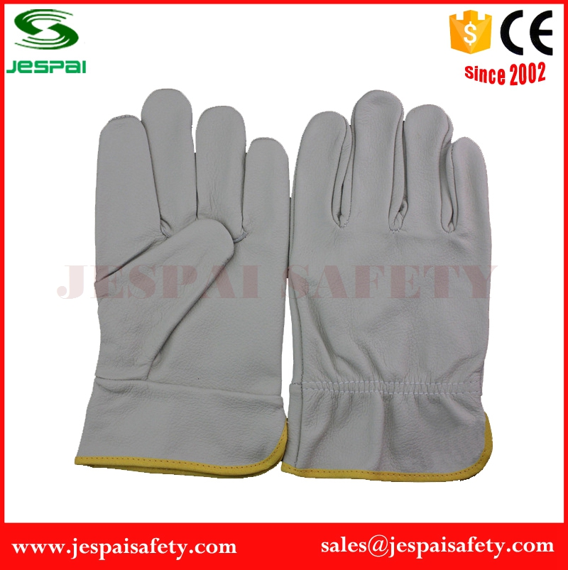 Gray Split Cowhide Leather Drivers Safety Glove