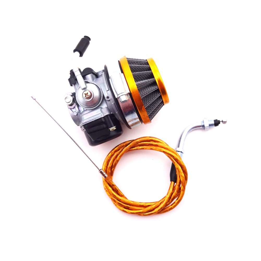 TC-Motor Racing Carburetor + Gold Air Filter + Gas Throttle Cable For 2 Stroke 49cc 50cc 60cc 66cc 80cc Engine Motorized Bicycle Push Bike