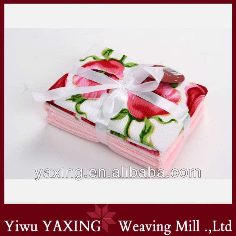 [Yaxing] Microfiber reactive printed kitchen towel gift suit, 3pcs/suit