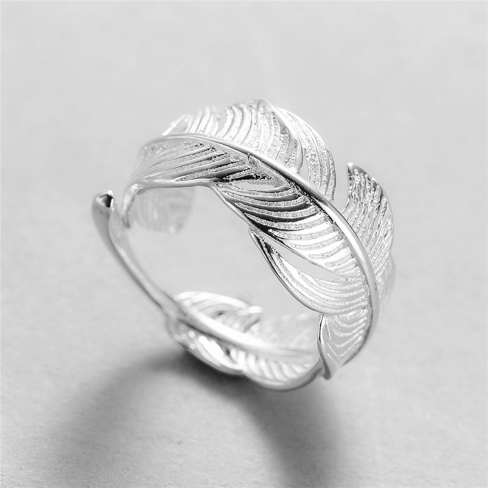 MYLOVE FREE SHIPPING size adjustable Feather 925 sterling silver <strong>ring</strong> wholesale