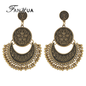 Vintage Indian Design Gold Silver Plated Big Chandelier Earrings
