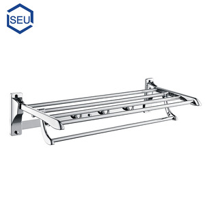 Stainless steel and zinc alloy hotel expanding folding bath towel rack