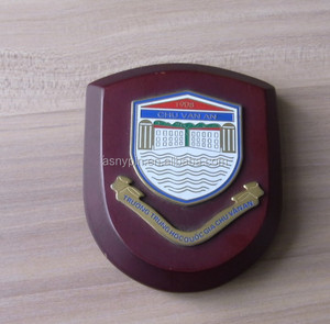 wood wall plaque metal and wooden shield