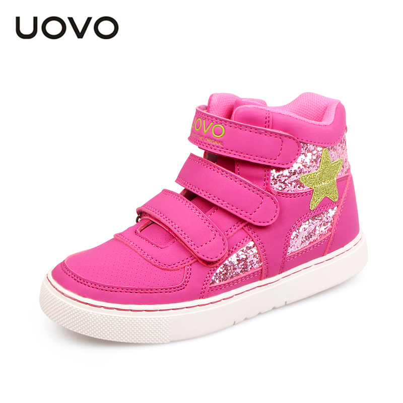 2016 New UOVO brand autumn and winter glitter kids girl shoes fashion sport shoes mid-cut star sneaker shoes for girls