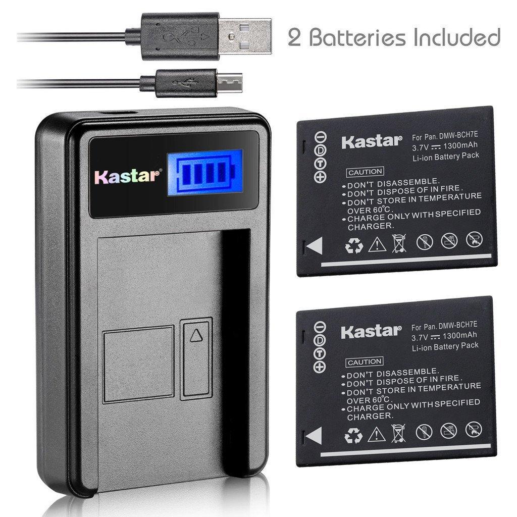 Kastar Battery (X2) & LCD Slim USB Charger for Panasonic DMW-BCH7, DMW-BCH7PP, DMW-BCH7E, DE-A76 and Panasonic Lumix DMC-FP1, DMC-FP2, DMC-FP3, DMC-FT10, DMC-TS10 Cameras