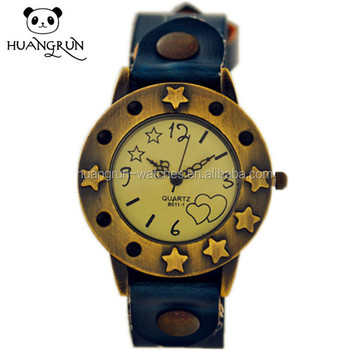 USA Japan movement women vintage quartz leather wrist watch