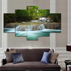 waterfall canvas painting home decoe wall art 5 panel wooden frame prints for livingroom factory wholesale price