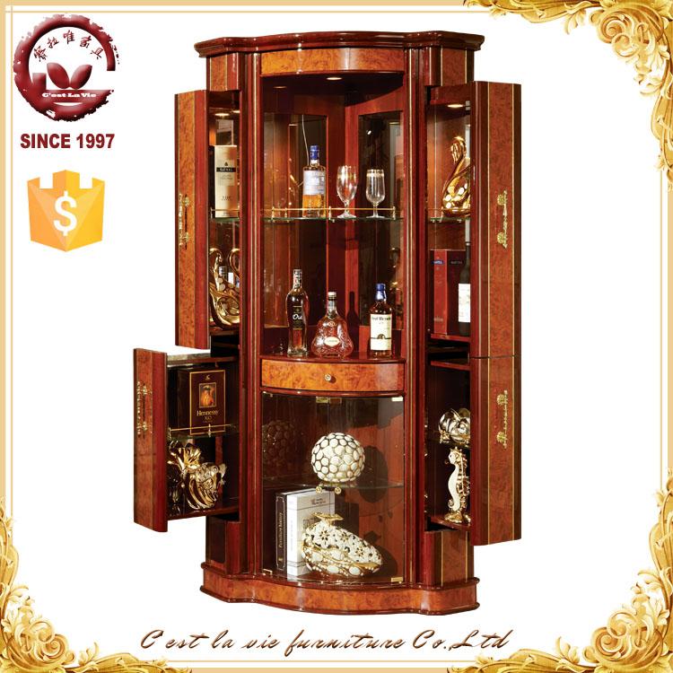 gabinete de madera muebles para el hogar de cristal de vino mini bar a