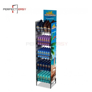 Cosmetic retail store display stands / metal suncream display
