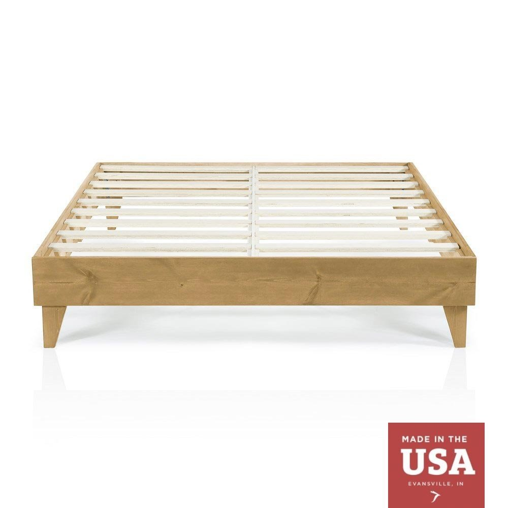Wood Platform Bed Frame | Queen Size | Modern Wooden Design | Solid Wood | Made in U.S. | Easy Assembly | Almond / Oak