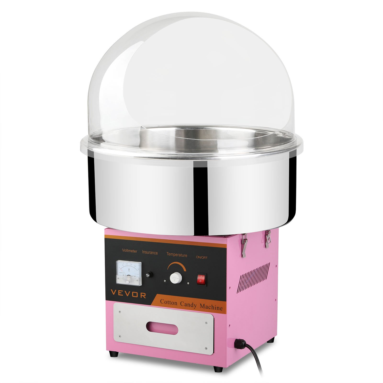 Mophorn Electric Cotton Candy Machine with Bubble Cover Cotton Candy Maker with Cover for Kids Cotton Commercial Candy Machine Kit 110V Perfect for Various Parties
