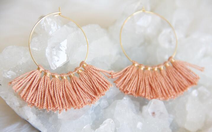 Blue Fringe Pink Blush Tassel Hoop Earrings