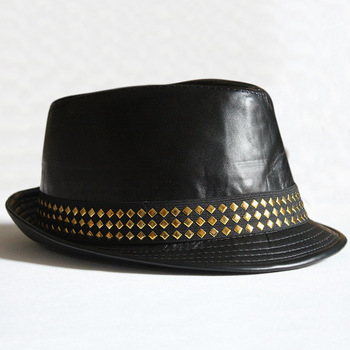 High Quality Wholesale Black Leather Fedora Hat Gangster Trilby Cap ... c67dceea29e