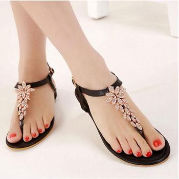 New Style Flat Sandals Beautiful Women Flat Sandals Ladies Flower ...