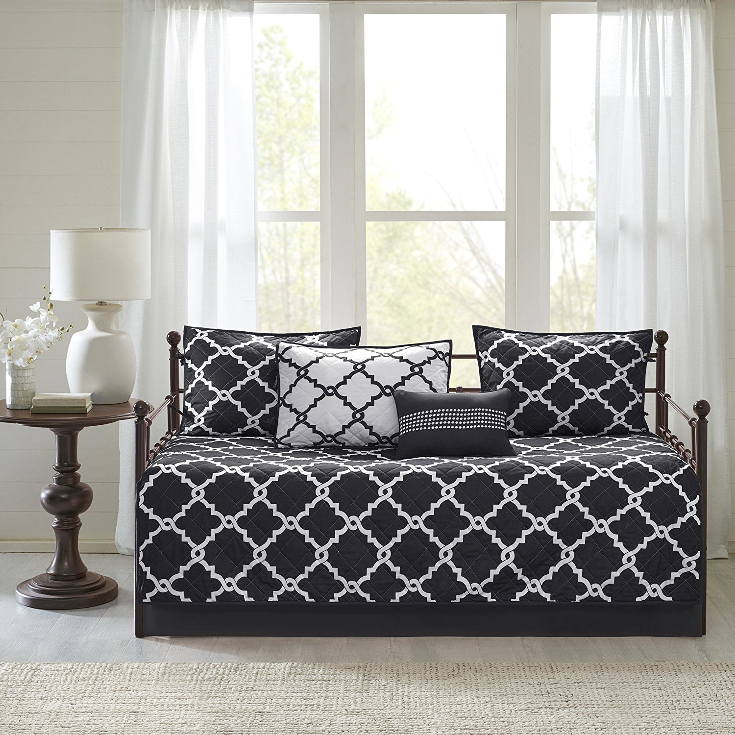 6 Piece Black White Geometric Daybed Set Bedding, Trellis Lattice Shabby Chic Classic Bedding Fretwork Design Pattern Day Bed Bedskirt Pillows, Polyester