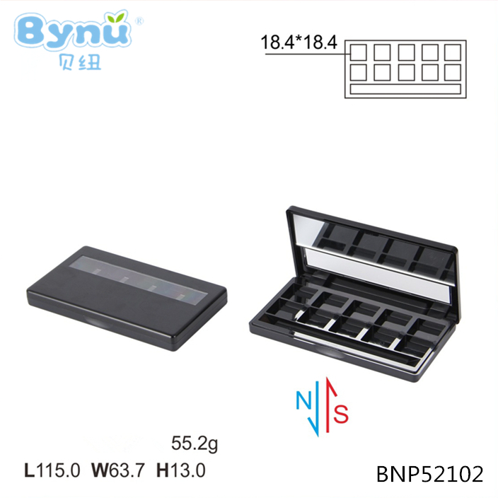 BYNU 2017 new cosmetic packaging 10 colors empty plastic eyeshadow palette