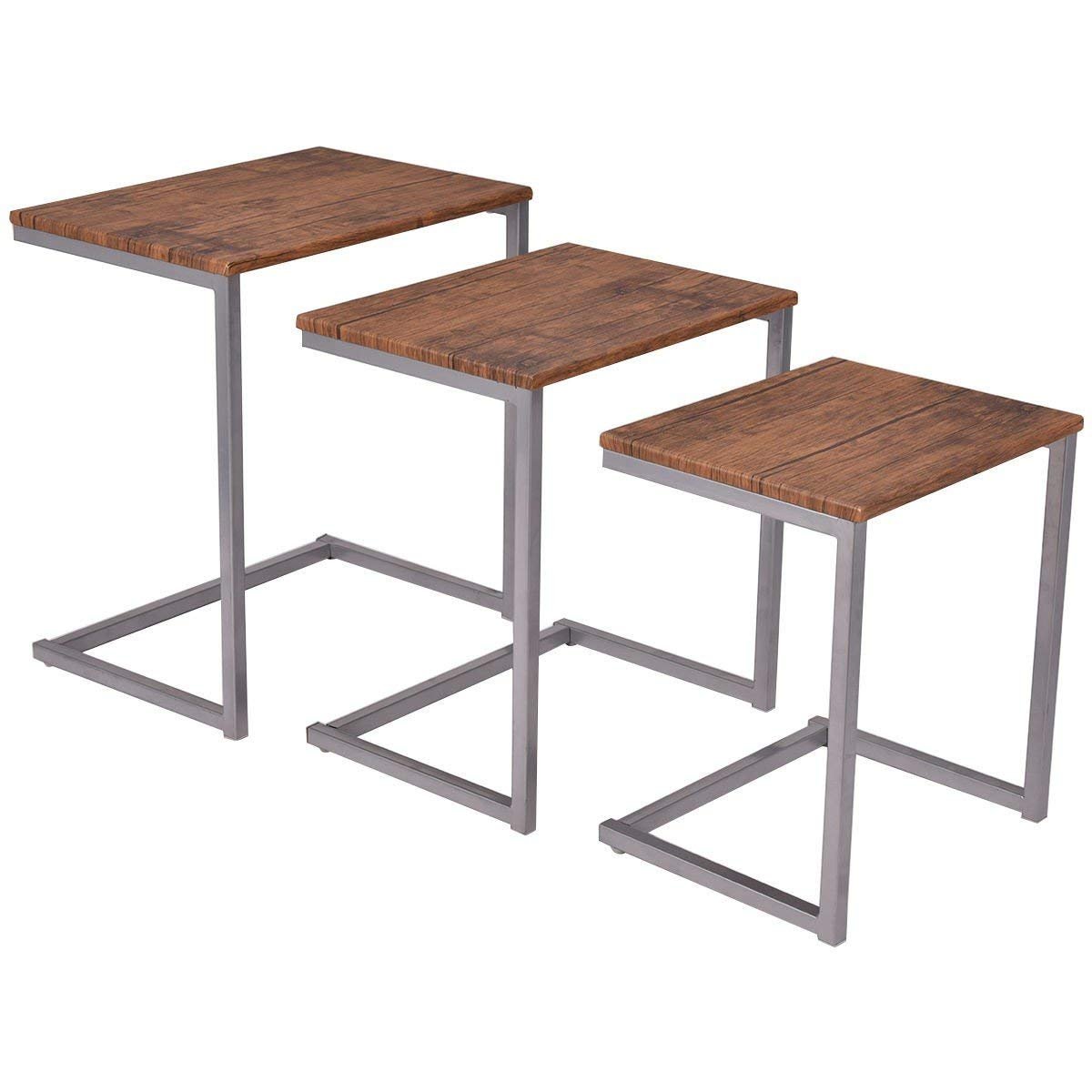 3 pcs Steel Stacking Nesting Coffee End Tables Stacked Mid Century CHOOSEandBUY
